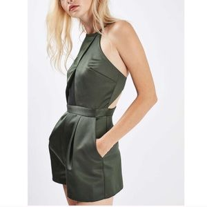 Topshop Olive Green Satin Mesh Playsuit